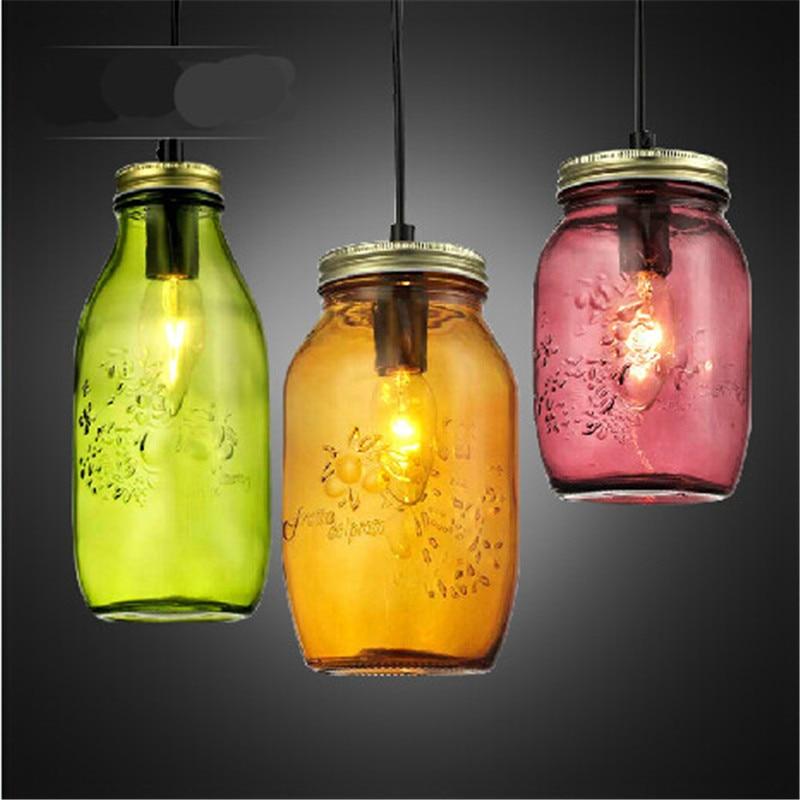 Vintage Handmade Candy Colors Led E27 Glass Jar Bottle Pendant Light For Dining Room Restaurant Living Room AC 80-265V 1400 портативная колонка harman kardon harman kardon esquire 2