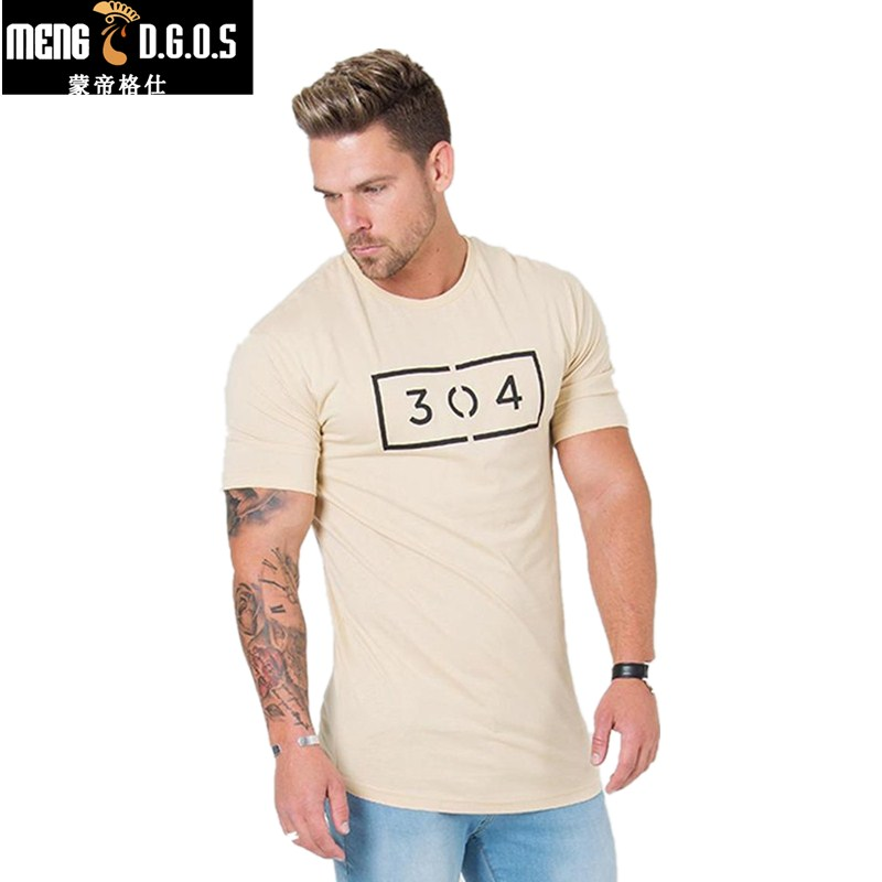 New Mens Gyms jogger   T     shirt   Fitness Letter Printed Male Short Cotton Clothing Brand Tee Tops 3 Color