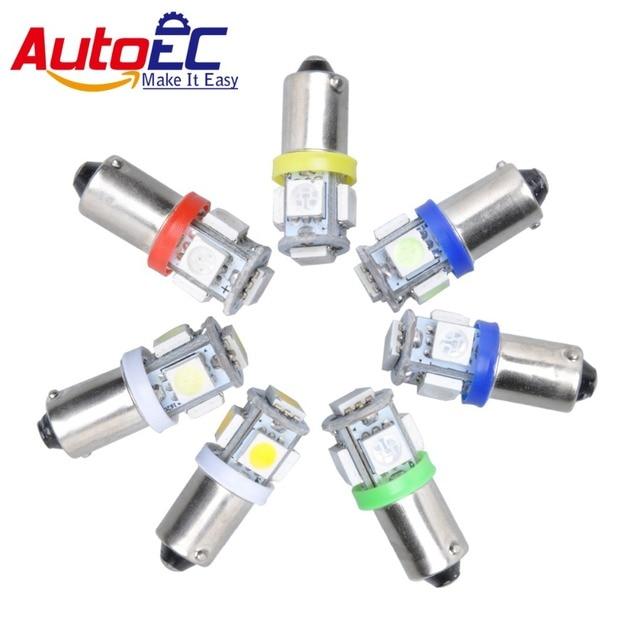 AutoEC 1000x BA9S T4W T11 H6W 5 SMD 5050 LED Car Wedge side marker interior light 12V yellow white green blue red pink #LG02