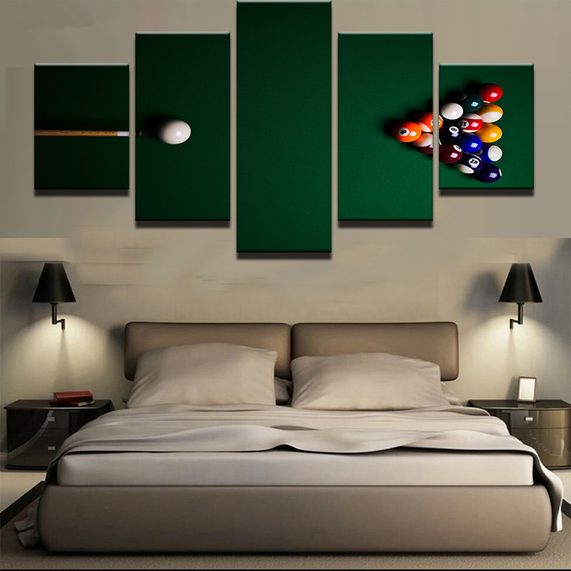Canvas Wall Art Pictures Living Room Decor Modular Framework 5 Pieces Sports Color Billiards Painting HD Prints Abstract Poster