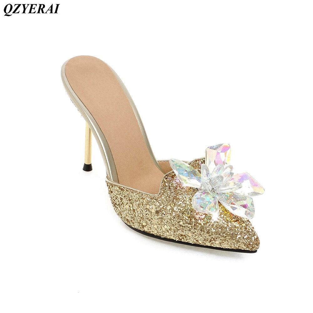 Été nouveauté en métal à talons hauts dames sandales fleur pantoufles femmes chaussures européennes américaines sexy pantoufles chaussures simples