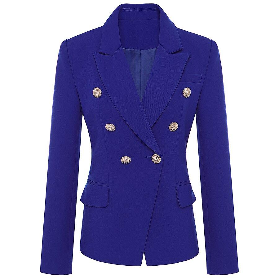 Alta qualidade nova pista 2019 designer blazer jaqueta feminina metal leão botões duplo breasted blazer casaco exterior S-XXXL