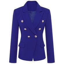 Blazer de haute qualité pour femmes, veste croisée, boutons lions métalliques, vêtement dextérieur de styliste, nouvelle collection 2020