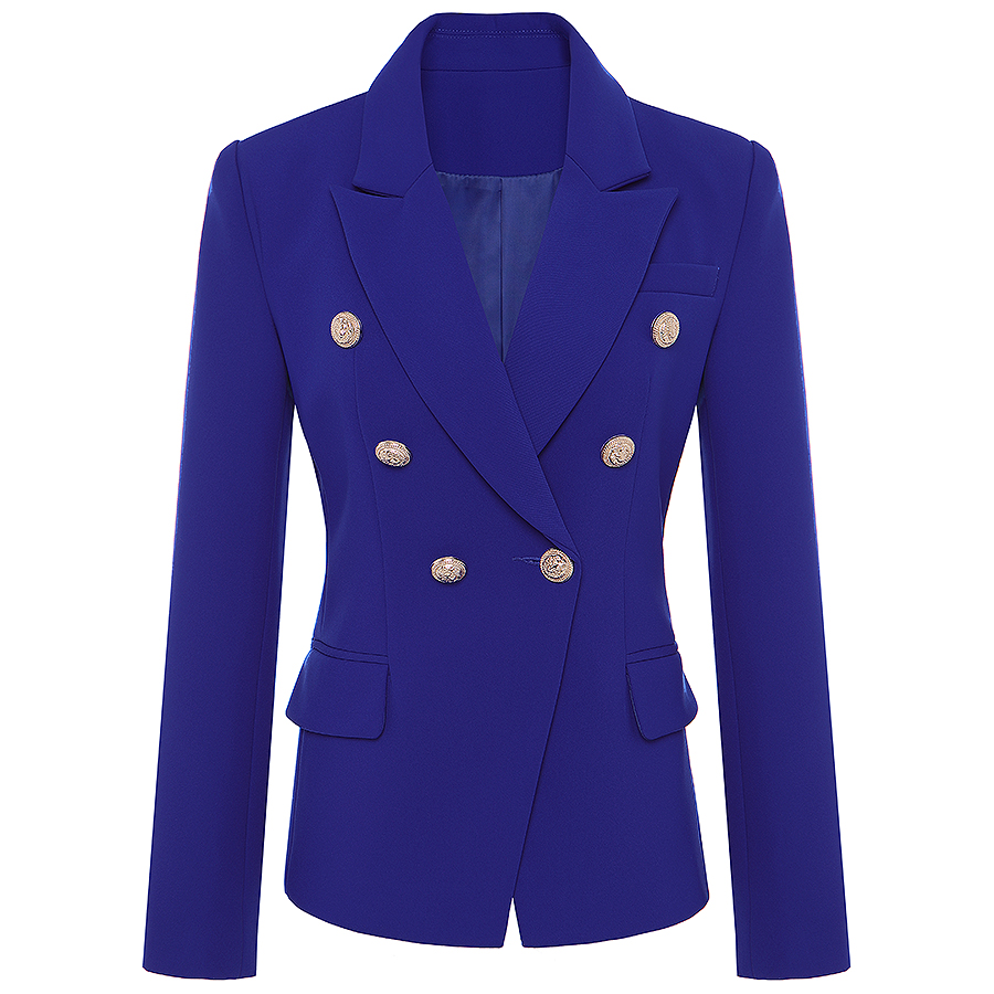 HIGH QUALITY New Runway 2018 Designer Blazer Jacket Women's Metal Lion Buttons Double Breasted Blazer Outer Coat S-XXXL