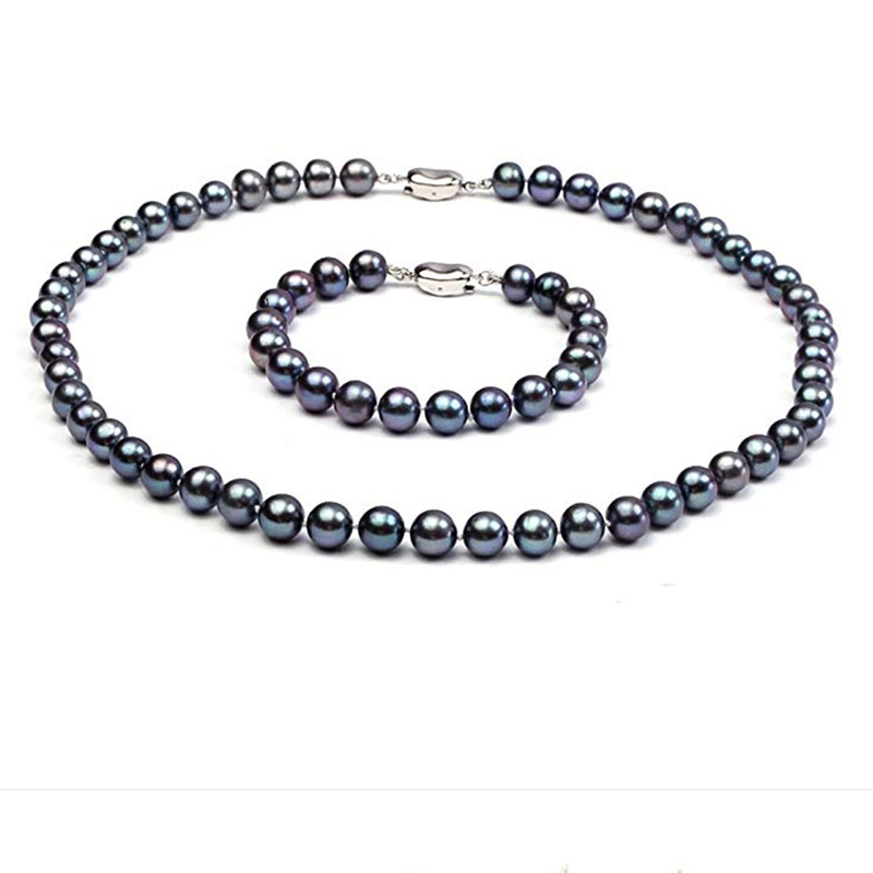 JYX Pearl Set Jewelry 8-9mm AAA Black Round Natural Freshwater Pearl Necklace and Bracelet Set 8 in 1 8in1 shampoo black pearl