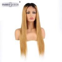 Full Lace натуральные волосы парики 1B/27 бразильский виргинский прямые волосы парик, окрашенный омбре с ребенком волос предварительно сорвал на
