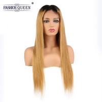 Full Lace Human Hair Wigs 1B/27 Brazilian Virgin Straight Hair Ombre Lace Wig With Baby Hair Pre Plucked Natural Hairline