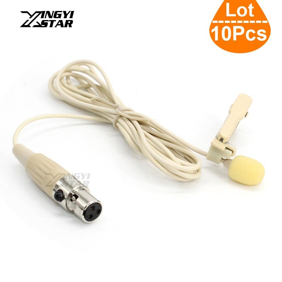 10 Pz Mini XLR 3 Pin TA3F Wired Condensatore Tie Clip Lapel Mic Microfono Lavalier Microfono Senza Fili Professionale Karaoke Sistema