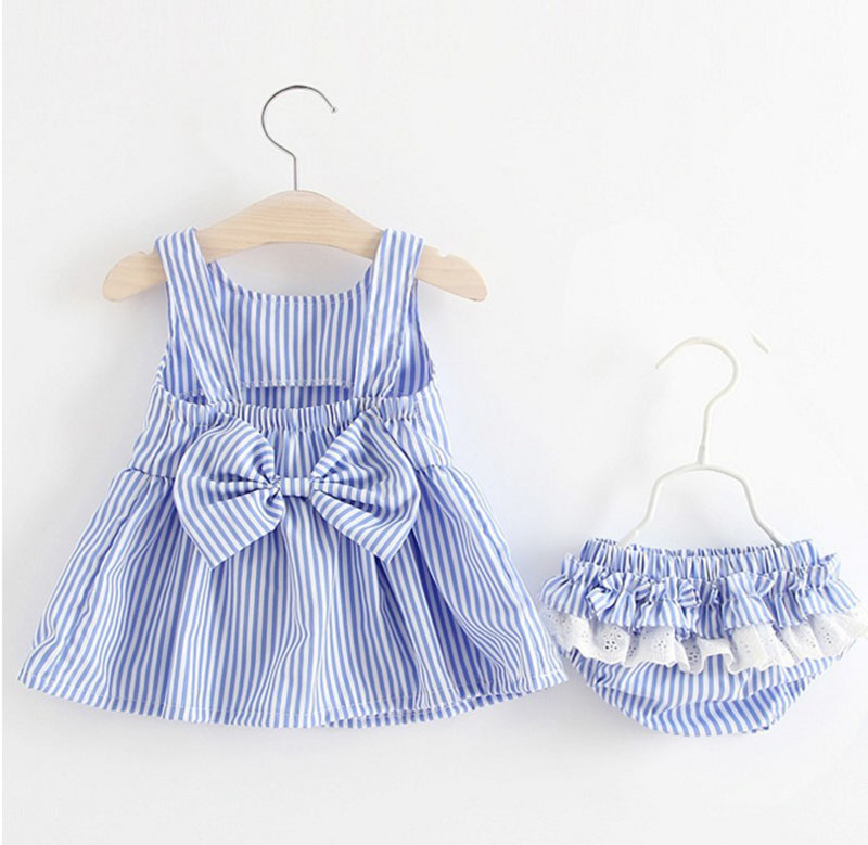 Child Ladies New child Gown Garments New Cute Bowknot Striated Sleeveless Woman Gown + PP Pants toddler 2pcs Ladies Clothes Units Children Clothes Units, Low-cost Clothes Units, Child Ladies...
