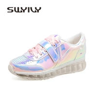 SWYIVY Sneakers Woman Platform Laser Color Autumn 2018 Genuine Leathable Woman Casual Shoes Comfortable Lady Sneakers Woman
