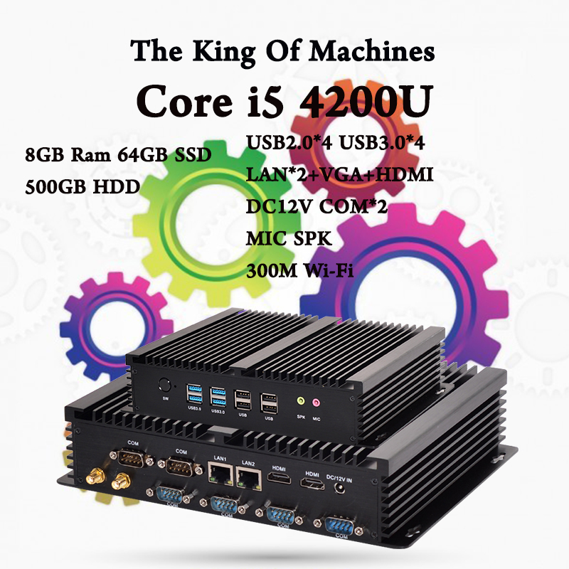 Industrial Computer Fanless 0.00dB Intel Core i5 4200U 8GB Ram 64GB SSD 500GB HDD SATA3 MSATA3 6Gb/s 2016 Best Mini PC HTPC best price micro pc 4gb ram 500gb hdd intel i5 4200u dual core with metal case 4 usb 3 0 ports hdmi windows 8