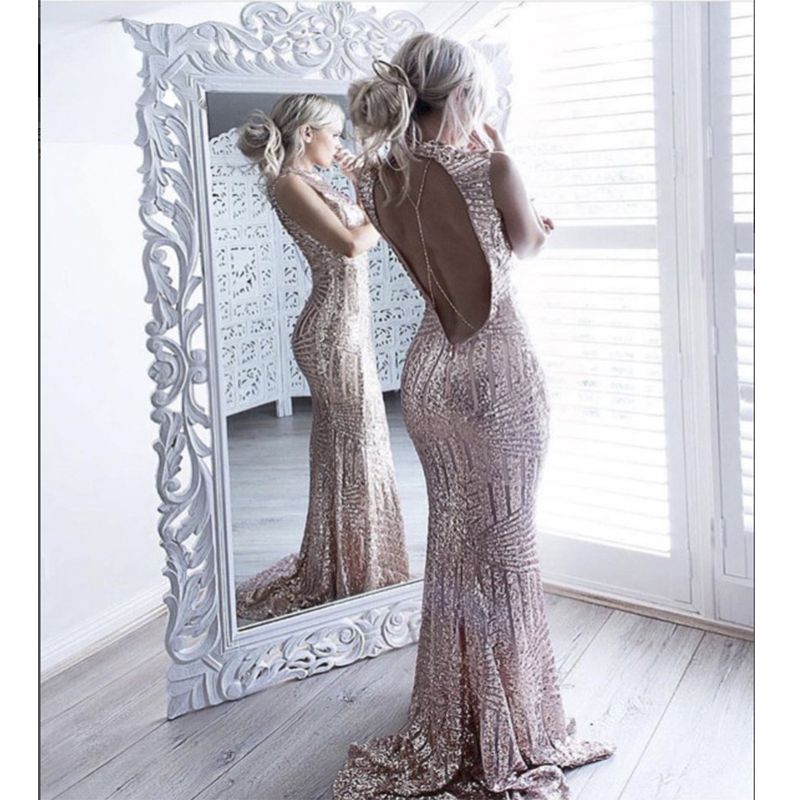 Yesexy 2019 Sexy sleeveless backless chian sequin maxi dress VR6860