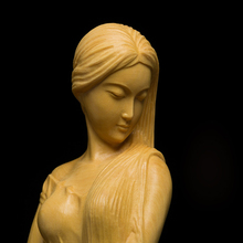 High quality Boxwood  Woodcarving hall Ornaments Figure statue Manual craft Wooden crafts Sculpture Female figurine gifts