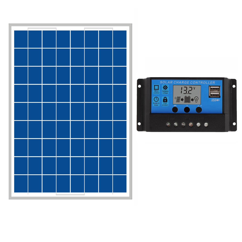 20W Solar Panels + 10A 12V 24V Solar Controller LCD display small solar home system 18V solar charger 12V battery WY portable solar panels for camping 12v 50w solar battery charger pwm regulator controller 12v 24v 10a z bracket caravan car camp