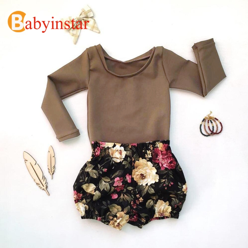 Girls Clothes Sets Autumn Long Sleeves Solid Cotton T-Shirt +Flower Short 2 Pcs Girl Sets vintage printing long sleeves shirt