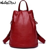 NIGEDU brand women backpacks Preppy style girls school bags travel mochila Fashion Leisure PU leather backpack Travel Back pack