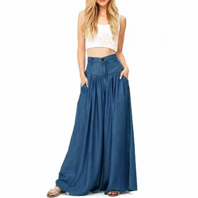 2019 New Trousers Women High Waist Long Harem Pants Pockets Loose Pleated Denim Blue Wide Leg Pants Party Palazzo Plus Size