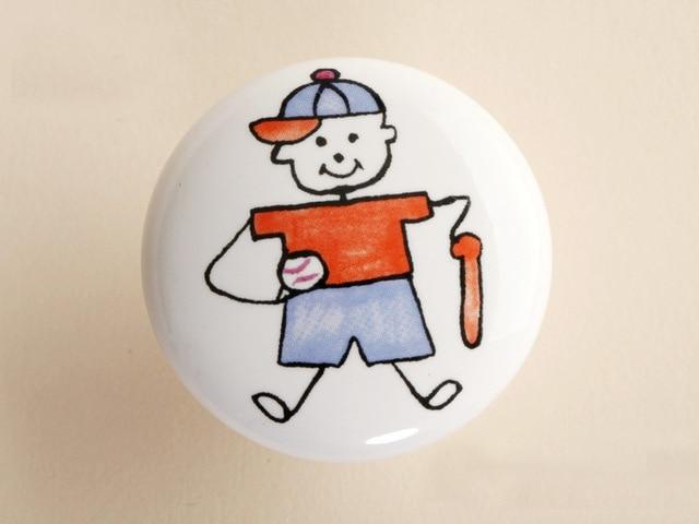 10Pcs Furniture Hardware Ceramic Child Baseball Boy Kitchen Drawer  Knobs(Diameter:38mm)(