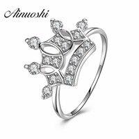 AINUOSHI Luxe 925 Sterling Zilver Koningin Crown Verlovingsringen Sona Ronde Cut Anillo de bodas Huwelijksverjaardag Zilveren Ringen