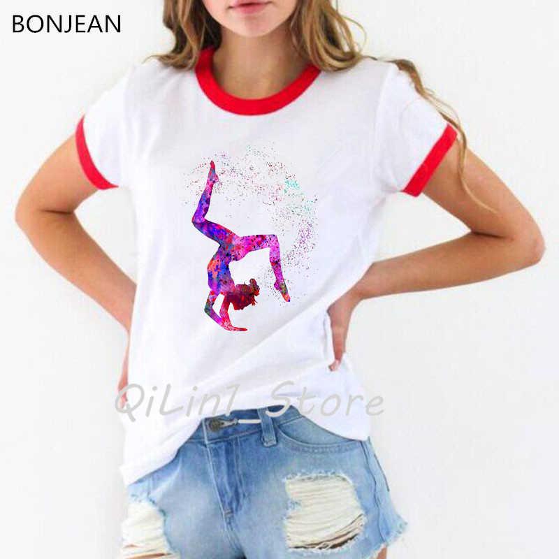 수채화 체조 소녀 인쇄 된 t 셔츠 여성 재미 있은 유행 tshirt femme 여름 정상 여성 t-셔츠 streetwear