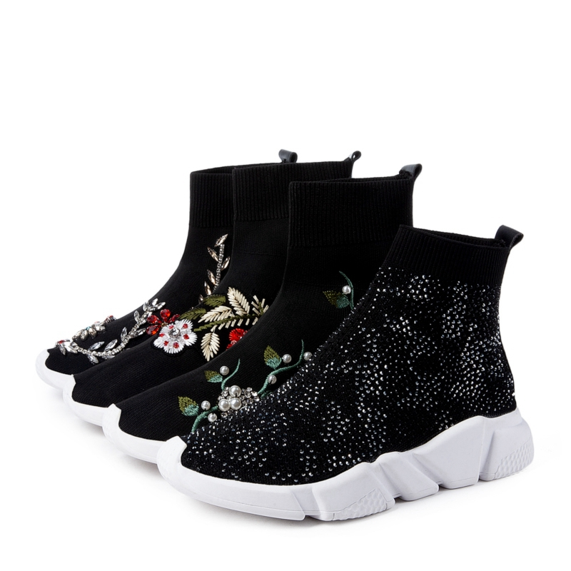 Girseaby NEW Embroidered flower sneakers knitting Winter Woman Shoes Ankle flat Boots Female Platform rhinestone slip on Black - 2