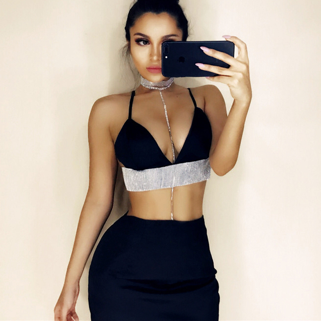 Two Piece Crop Top and Pencil Skirt Set