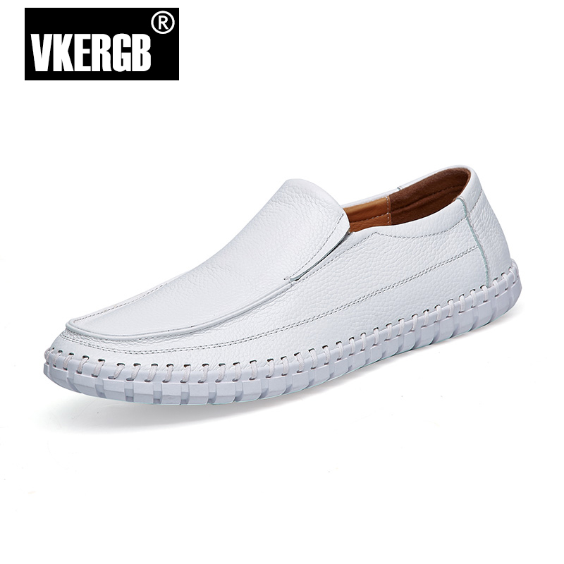 Casual Brand Men Loafers Comfortable Soft Driving Shoes Handmade Genuine Leather Men's Flats Slip On Leather Moccasins VKERGB lozoga 2018 men leather shoes handmade moccasins genuine cow leather men loafers design slip on comfortable peas shoes men flats