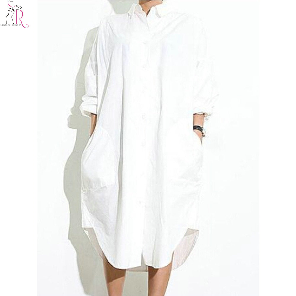 Buy white asymmetric side split midi Buy white dress shirt