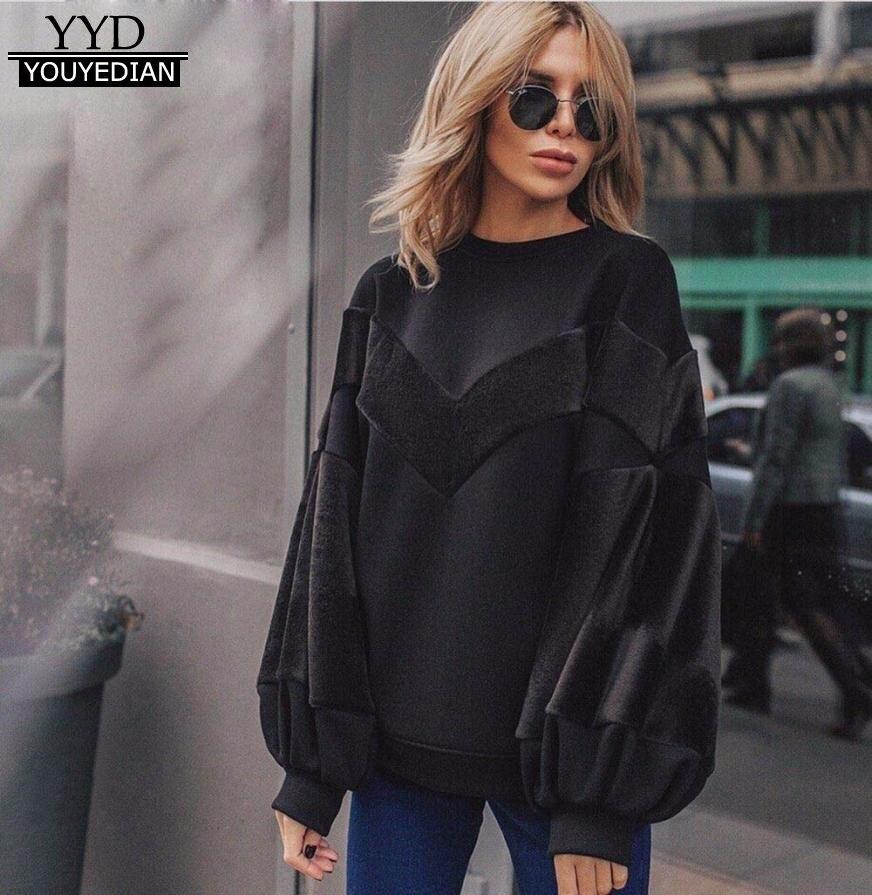 2017 Fashion Sweatshirts Women O Neck Sweatshirt Patchwork