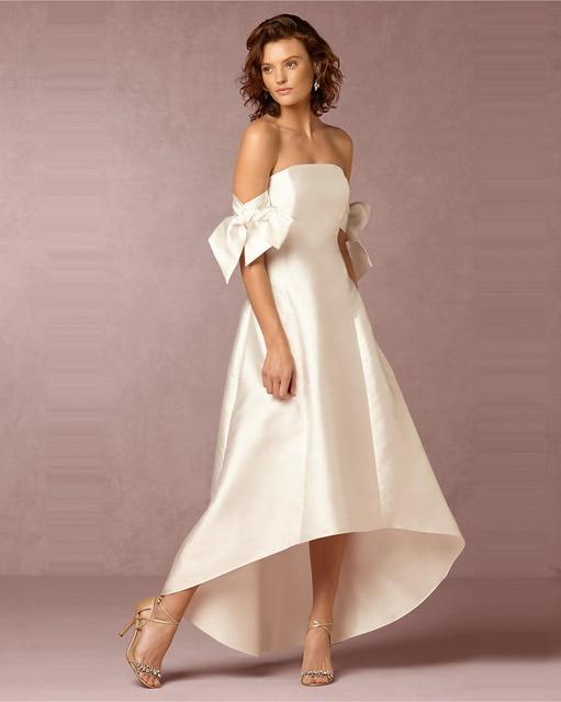 Wedding Dress 2017 Bridal Chic Off Shoulder High Low Luxury Satin Short Front Long Back Length Bridal Gowns Dresses