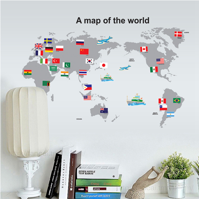 World Map Stickers Wall Sticker Wall Art Home Decoration Accessories Bedroom Decor Wall Stickers Home Decor