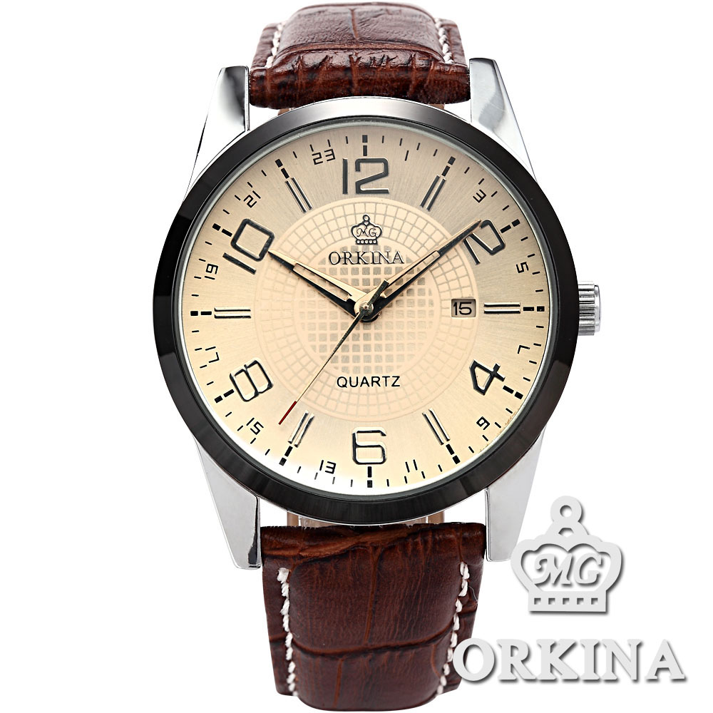 ORKINA Men's Analog Date Display Luxury Black/Brown Leather Army Sport Men Quartz Wrist Watch analog футболка analog ag fnto bsc black