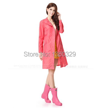 Japanese Fahion burberry_quality womens Long Raincoats Pink Zipper Trench High-end Fabric Woman Poncho Waterproof Girls Clothes