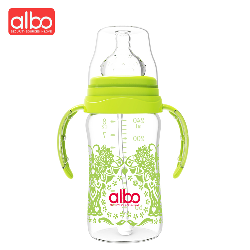 ALBO Hot Selling Traditional Chinese Print 240ML Glass Baby Feeding Bottle BPA Free Beauty Wide Mouth Glass Baby Milk Bottle