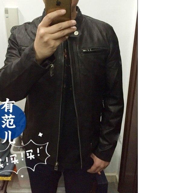 6c6a5a216febb مصنع الرجال ماتي الماعز حقيقية سترة جلدية للرجال حقيقي جلد الغنم أزياء ماركة  أسود ذكر معطف