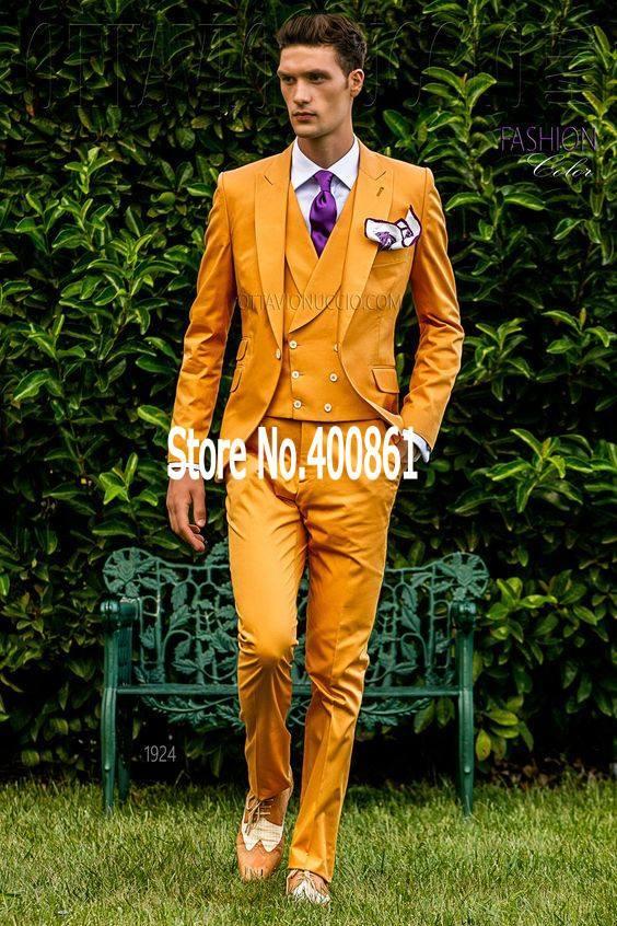 New Arrival Mens Dinner Party Prom Suits Groom Tuxedos Groomsmen Wedding Blazer Suits jacket+pants+vest+tie K:1166