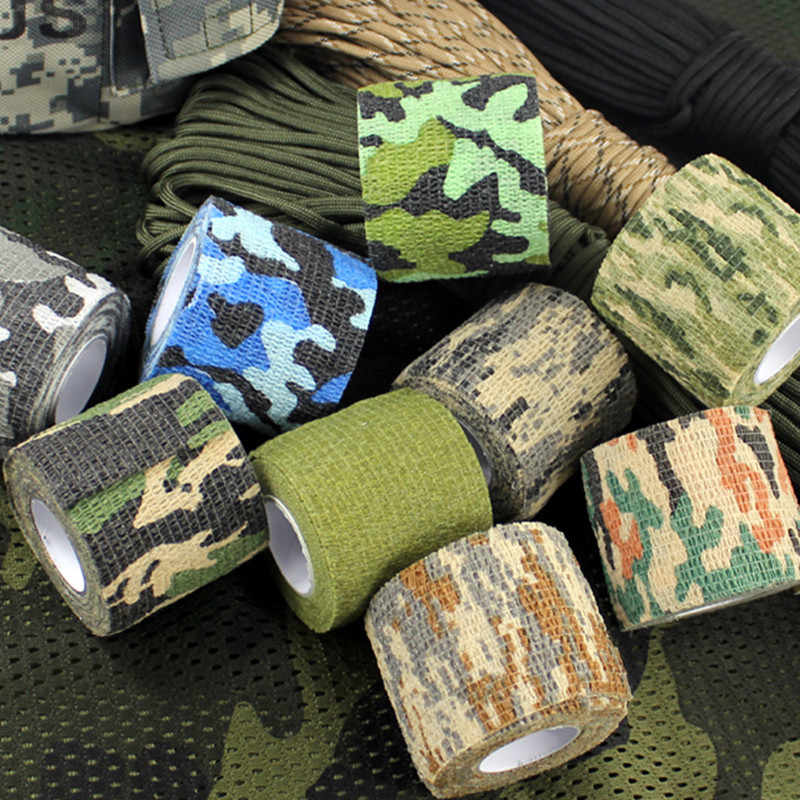Ao ar livre multi-funcional camo fita não-tecido auto-adesivo impermeável antiderrapante camuflagem caça paintball airsoft rifle fita