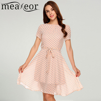 Meaneor Women Casual O Neck Short Sleeve Dot High Waist Dress With Belt