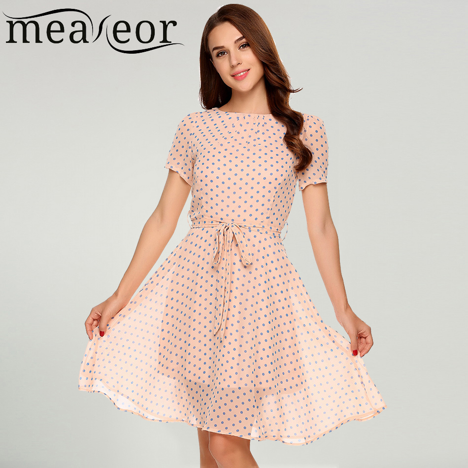 Meaneor Women Casual Dot Print Chiffon Summer Mini Dress Short Sleeve High Waist Back Zipper Girl Dress with Belt Vestidos