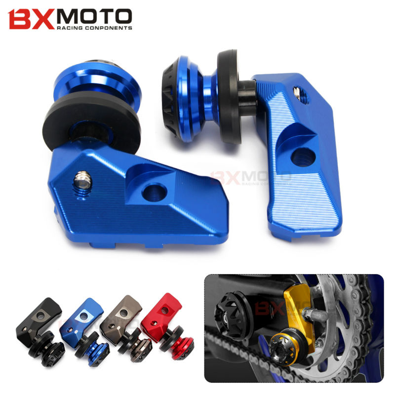 Motorcycle Parts Alloy Cnc Rear Axle Spindle Chain Adjuster Blocks With Spool Sliders Kit Blue For <font><b>Yamaha</b></font> Yzf R3 R25 Mt03 <font><b>Mt25</b></font> image