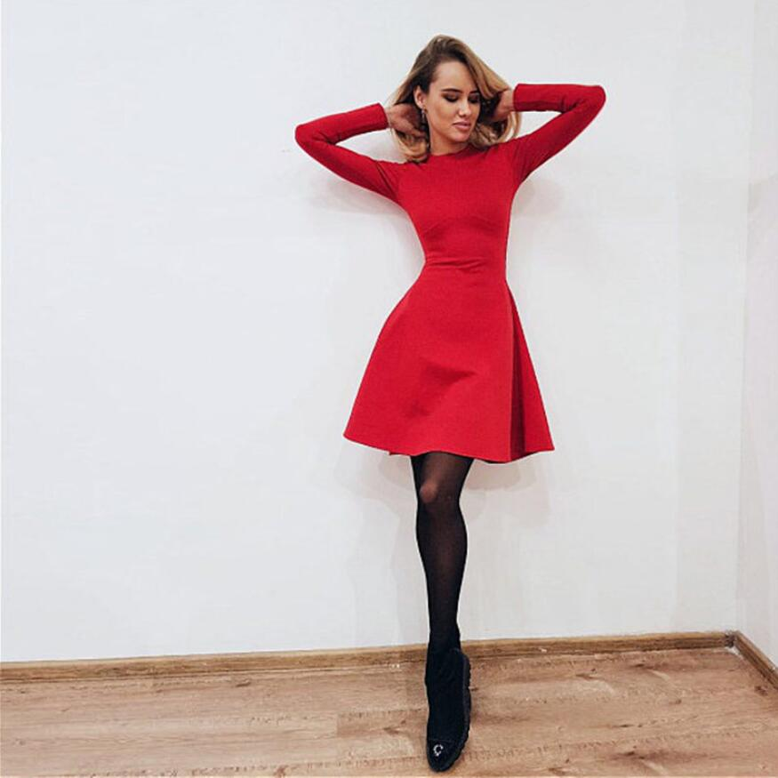 Fall Fashion 18 Women Long Sleeve Bodycon O-neck Casual Dress Winter Vintage Sexy Mini Party Dresses Autumn Clothes Vestidos 1
