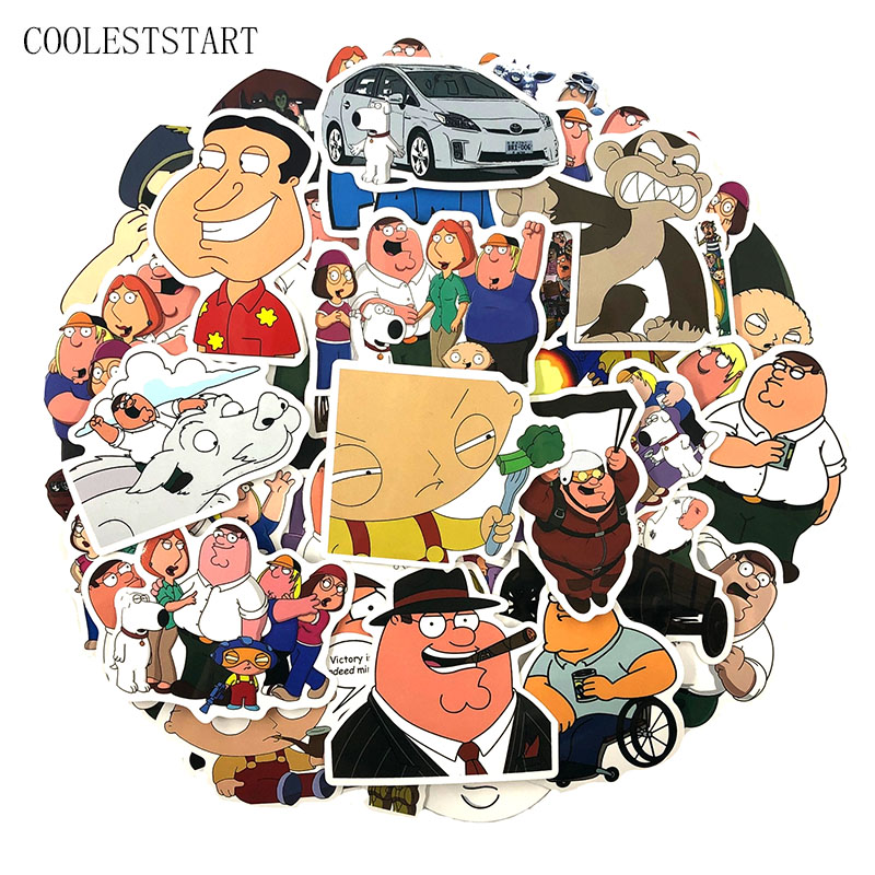 50-100pcs/pack Family Guy Cartoon Kid's Toys Stickers For Skateboard Motorcycle Luggage DIY Scrapbooking Bicycle Anime Sicker