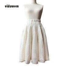 Nyári Hollow Out szoknya rövid midi Ball Gown irodai női derék mellény divat Pink Rice fehér Alkalmi szoknyák női