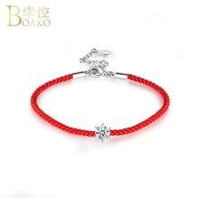 BOAKO Zircon Crystal Bracelets for Women Red Thread Rope Bangles Girl Zirconia Stone Bracelet Bangle femme Jewelry Z5