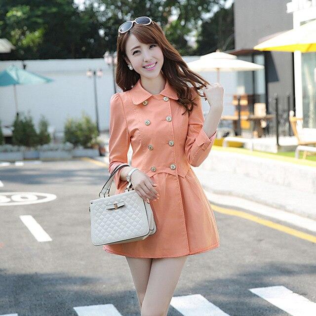 Долго ветровка сплошной цвет осенью новый женщин корейской мода нагрудные юбка стиль плащ двойной брестед британский стиль