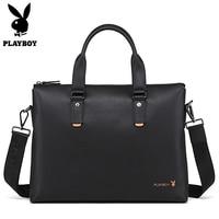 Playboy Marchio di Lusso Degli Uomini del Cuoio Laptop Bag Briefcase uomini di Modo Ufficio Affari Borse Casual Messenger Bag In Pelle per Gli Uomini