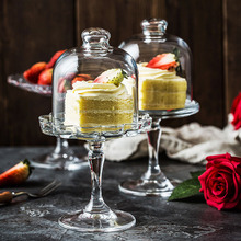 European Glass transparent cover fruit plate Afternoon tea cake glass West Point tray Cake dessert