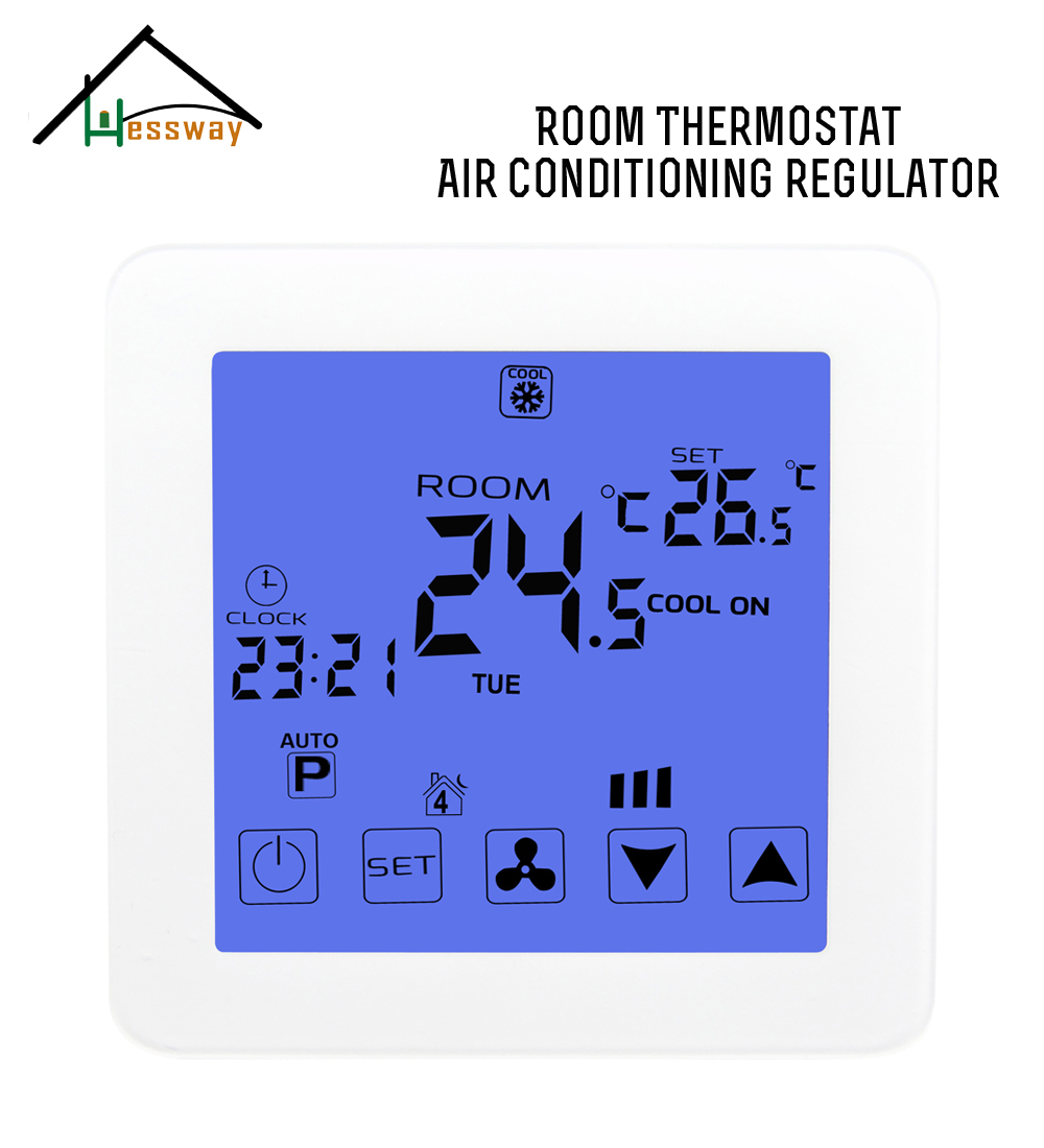 2p 4p EU smart room Touch screen thermostat programmable with cooling,heating,ventilation hessway app by smartphone 2p programmable fan valve room thermostat wifi fcu for heating cooling