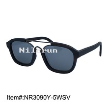 Luxury brand pilot syle silver polarized lens double matt grey metal nose bridge ebony wood sunglasses