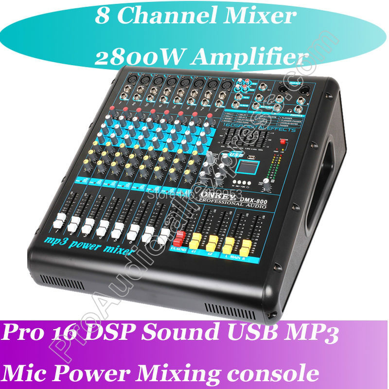 Top 2800W Amplifier Mixer 8 Channel Karaoke Microphone Mixing Console USB MP3 16 DSP Top Quality mini portable audio mixer with usb dj sound mixing console mp3 jack 4 channel karaoke 48v amplifier for karaoke ktv match party